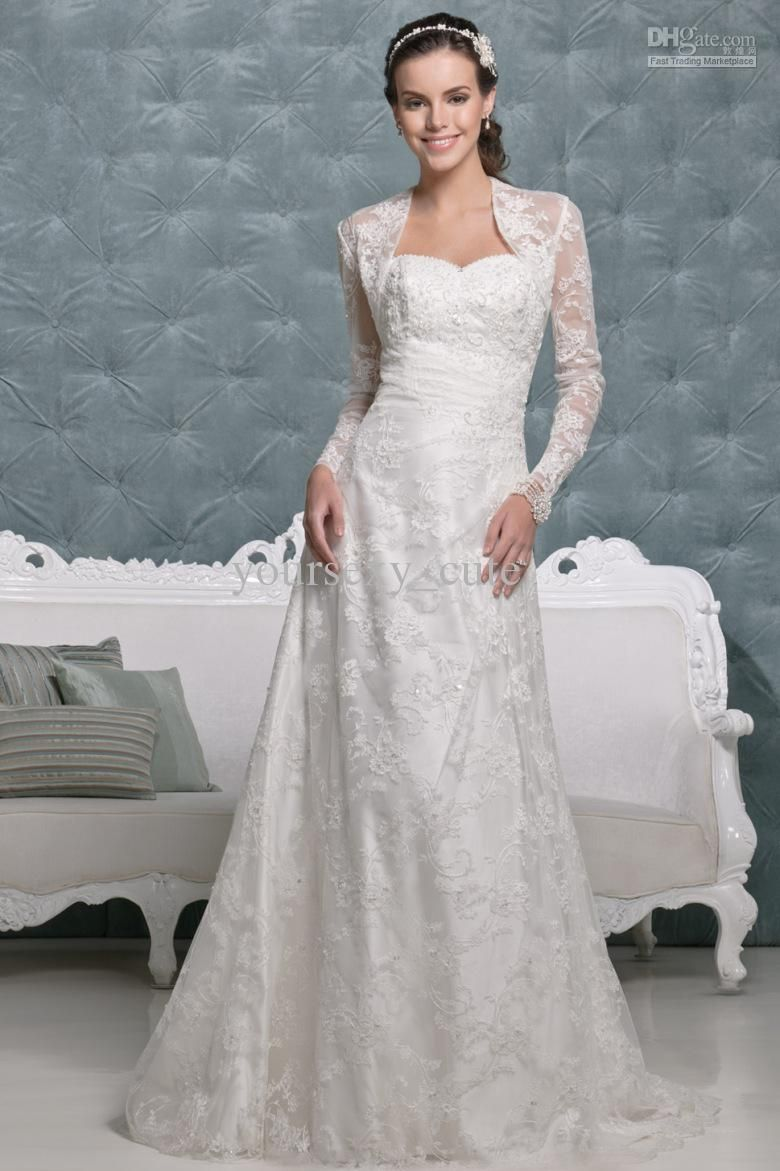 Simple long sleeve lace wedding gowns stylish lace for Wedding dress long sleeve lace jacket