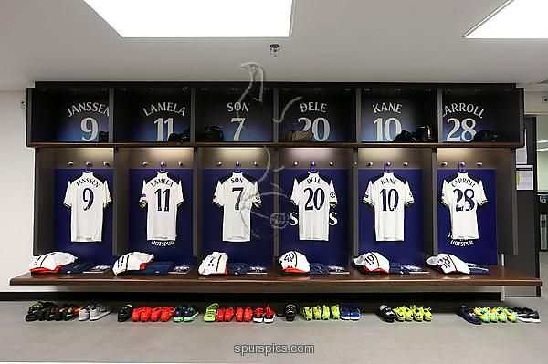 8f32b3c2 LONDON, ENGLAND - SEPTEMBER 14: Tottenham Hotspur kits displayed in the  dressing room prior