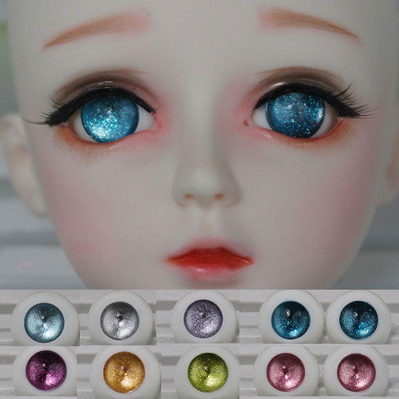 14mm Hand Made BJD Doll Eyes Pearlized Blue Acrylic Half Ball