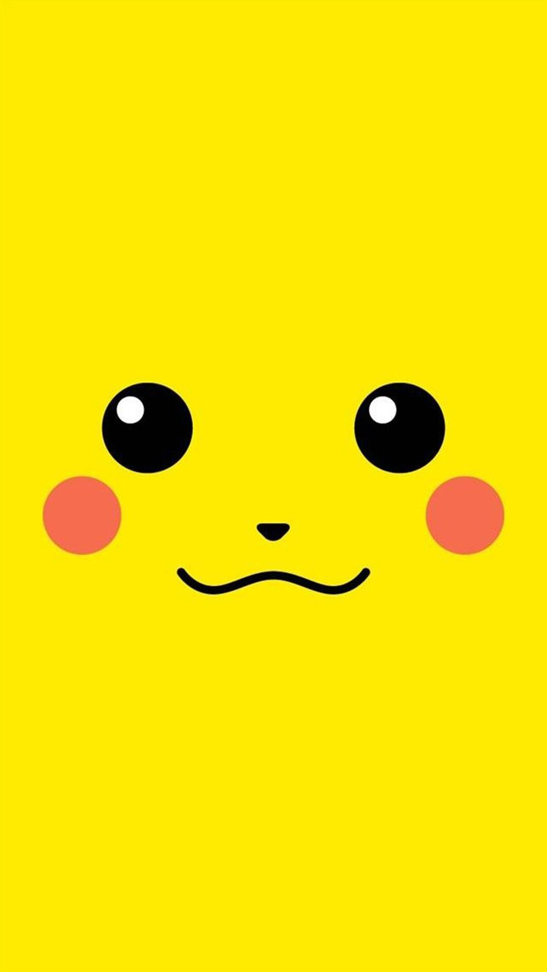 Tap And Get The Free App Minimalistic Pikachu Yellow Unicolor Cute Funny Pokemon Japanese Cartoo Wallpaper Iphone Cute Cute Wallpapers Pink Wallpaper Iphone