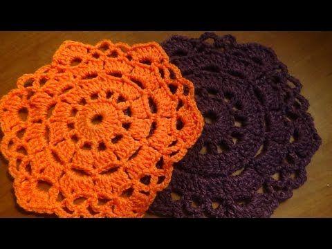 Carpeta o mantelito a crochet, muy fácil - YouTube   tapete con ...