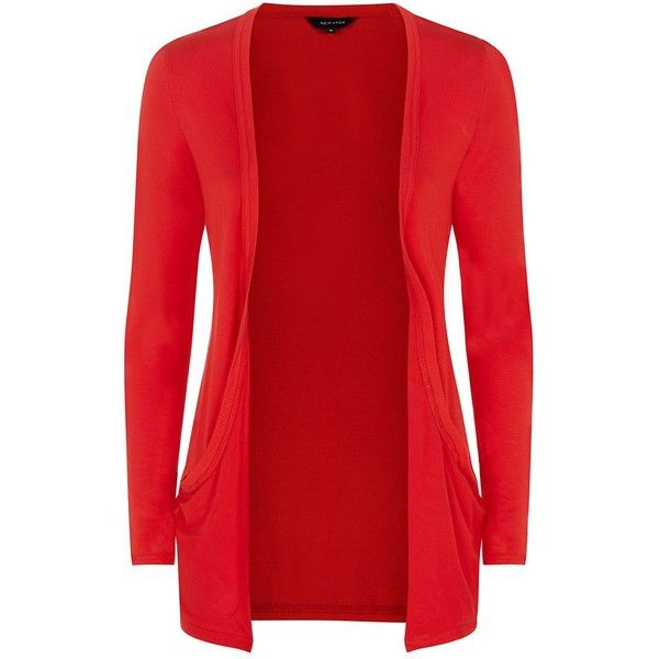 Bright Red Drop Pocket Boyfriend Cardigan ($8.68) ❤ liked on ...