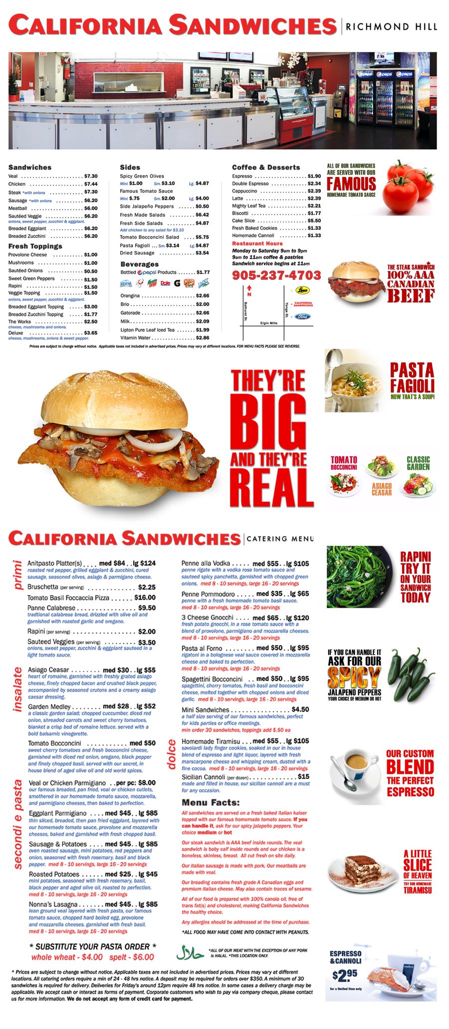 California Sandwiches Menu Sandwich menu, Food design
