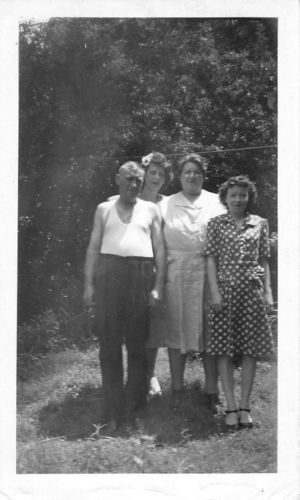 Photograph Snapshot Vintage Black and White: Family Dress Yard Smile 1940's