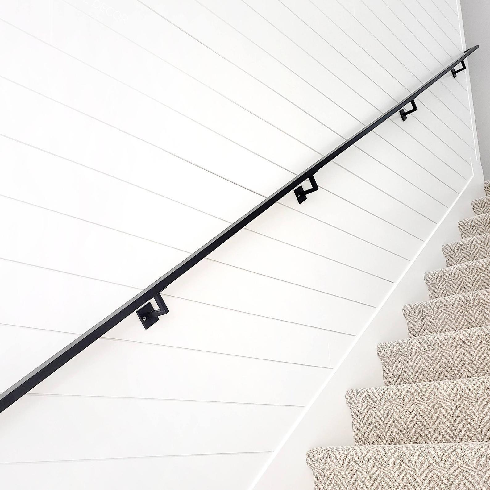 Minimal Handrail Bracket 1 2 Solid Steel Square Bar Etsy In 2020 Steel Stair Railing Metal Stair Railing Wall Mounted Handrail