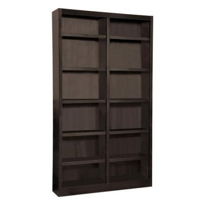 Midas Double Wide 12 Shelf Bookcase In Espresso Mi4884 E The Home