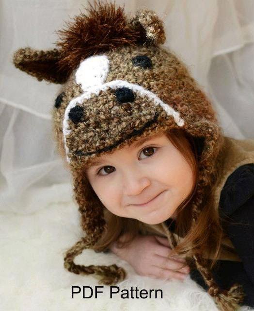 UNICORN HAT knit kids cap girls boys youth FLEECE LINED ski cap costume horse