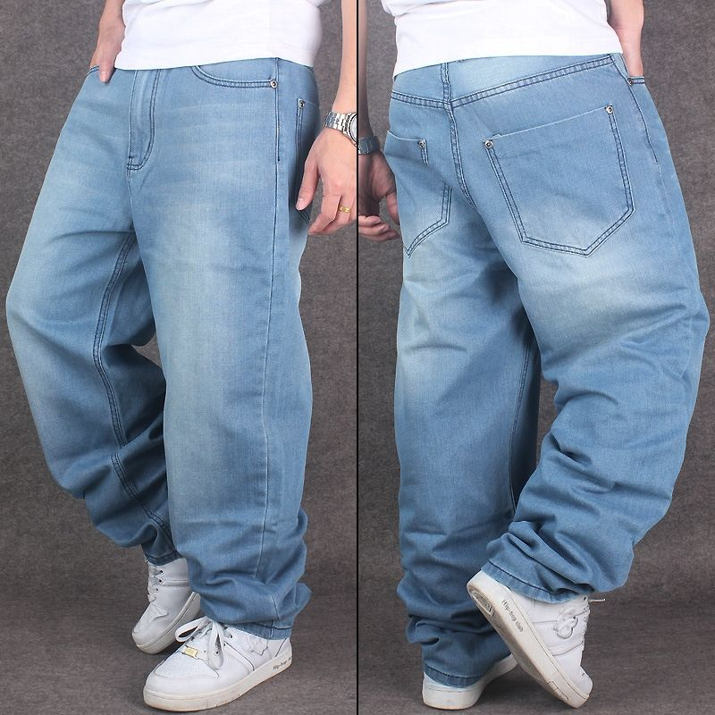 5a10c98c7fe New Fashion Light Blue Street Dancing Baggy Jeans Skateboarder Denim Pants  Hip Hop Jeans For Men Plus Size 42 44 46