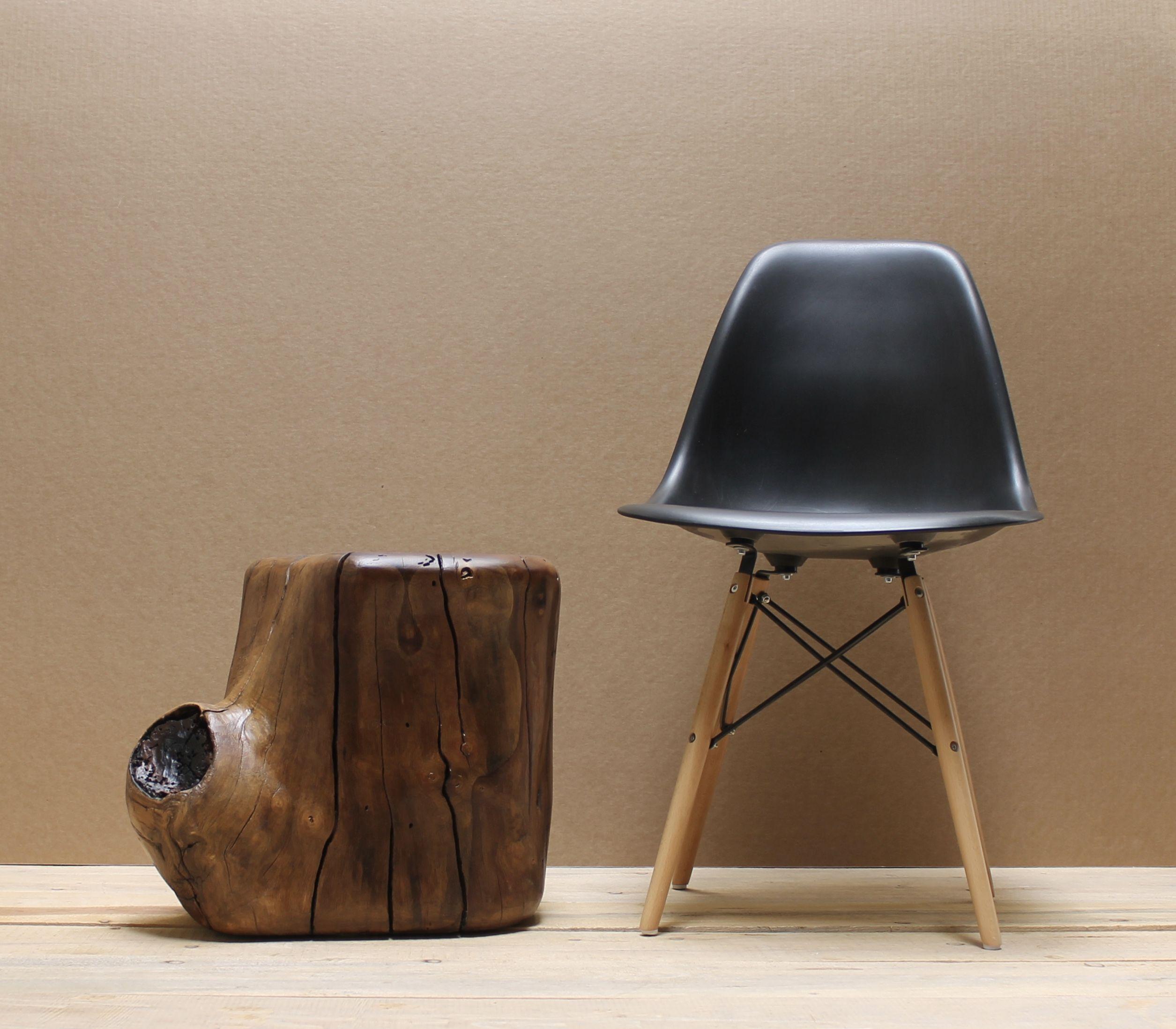 Walnut tree stump side table from kiln dried tree section fine furniture finish