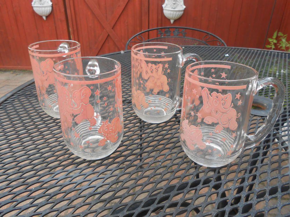 Hazel Atlas Pink Elephant Glass Handled Mugs Beer Vintage ...