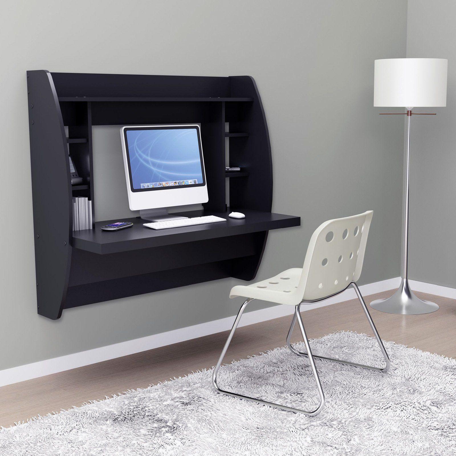 Prepac Floating Desk With Storage  Black $25799