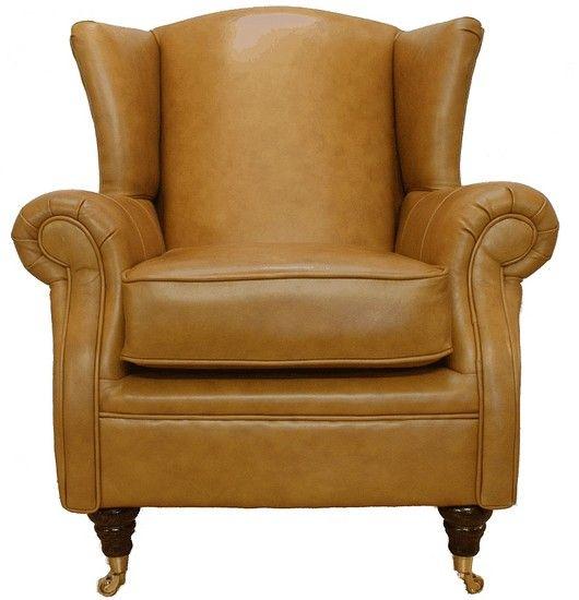 Astonishing Wing Chair Fireside High Back Leather Armchair Caramel Machost Co Dining Chair Design Ideas Machostcouk
