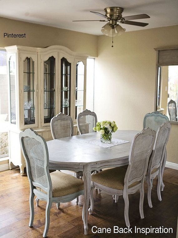 French Provincial Cane Back Dining Chairs Stately Elegance Thomasville Can Paint To Order Chairs Availabl Dining Room Furniture Dining Room Sets Dining Chairs #thomasville #living #room #furniture