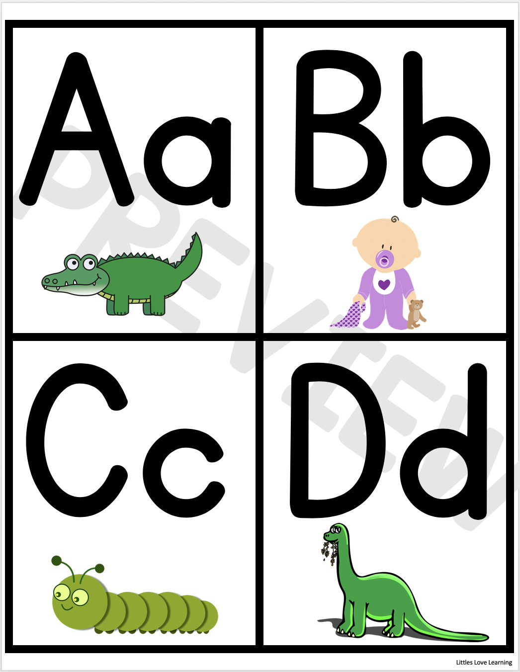 FREE Preschool & Kindergarten ABC Flashcards & Printable
