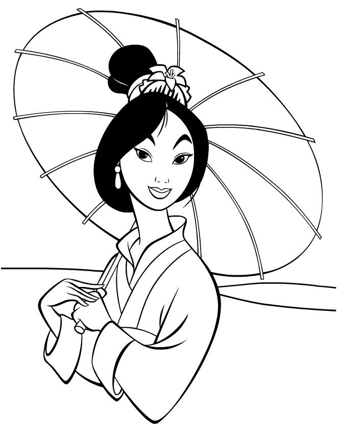 Disney Princess Coloring Pages Mulan Images