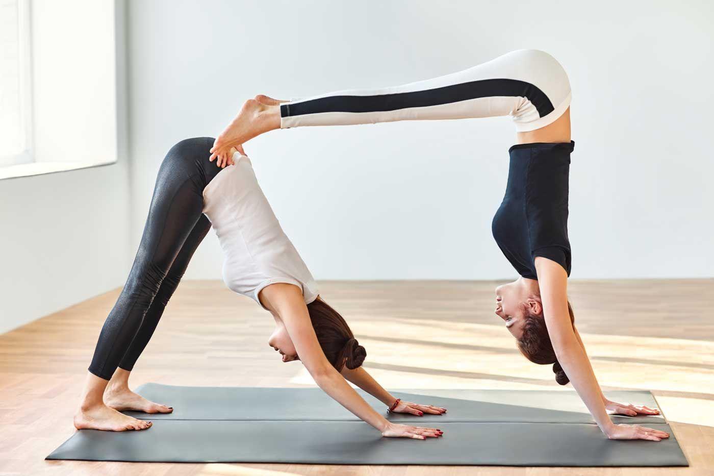 partner yoga double down dog Yoga