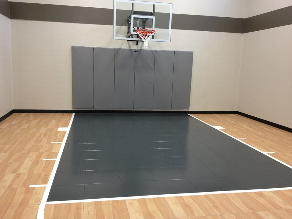 Residential Family Indoor Home Basketball Court With Modular Surfacing By Snapsports Features Indoor Basketball Indoor Basketball Court Home Basketball Court