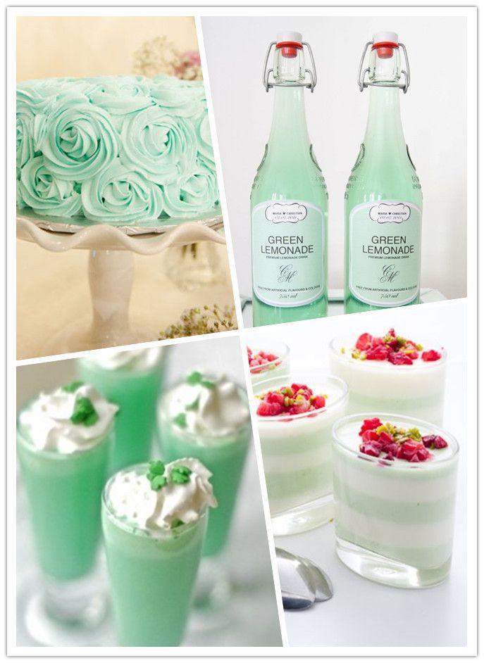 Mint wedding cake, desserts and drinks @Megan Ward Ward Ward Ward Kathleen
