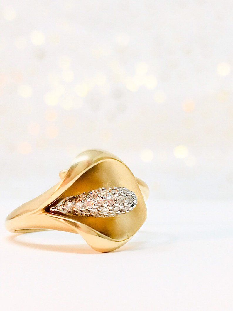 14k vintage calla lily diamond pave flower ring in yellow