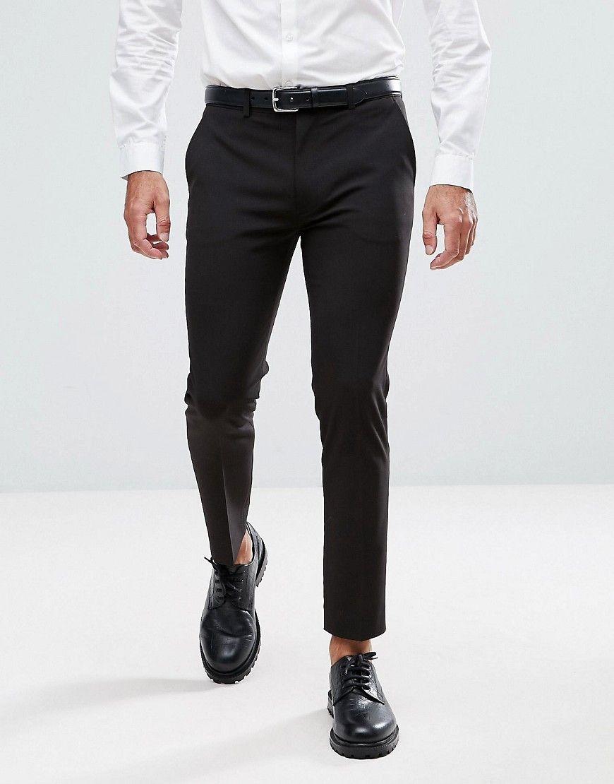 Asos Super Skinny Cropped Smart Pants In Black Black Black Pants Men Black Suit Men Pants Design [ 1110 x 870 Pixel ]