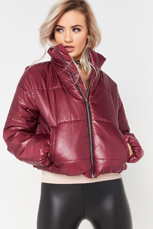Ruby Wine Cropped Puffer Jacket Puffer Jacket Women Leather Pants Women Jackets For Women [ 1500 x 1000 Pixel ]