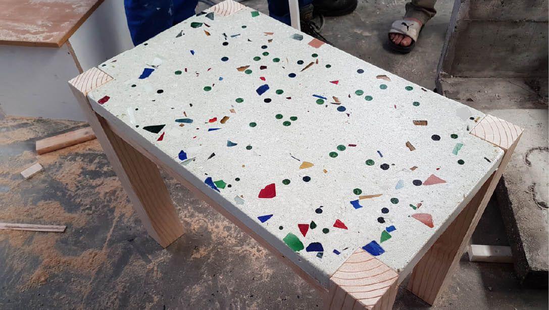 Cemcrete Countertop Mix White With Custom Aggregates Concrete
