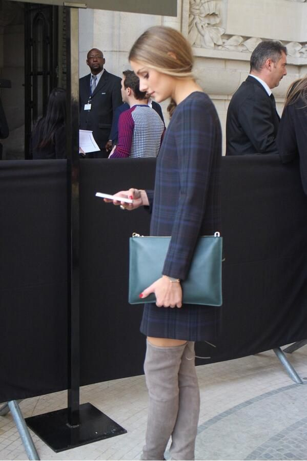 Olivia Palermo. Pretty in plaid, paired up w/ grey suede high boots. Love the blue clutch. Perfect! ~Yours truly, Trish