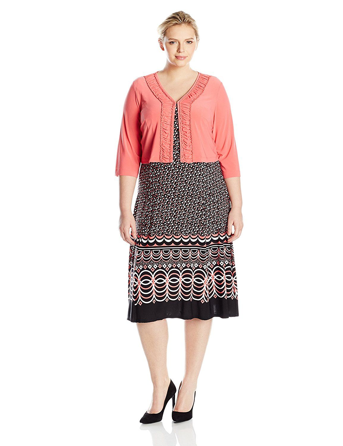 Danny And Nicole Womens Plus Size 2 Piece Ity Jacket Dress Printed
