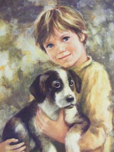 C Mitchell Painting Classic Boy With His Puppy Dog