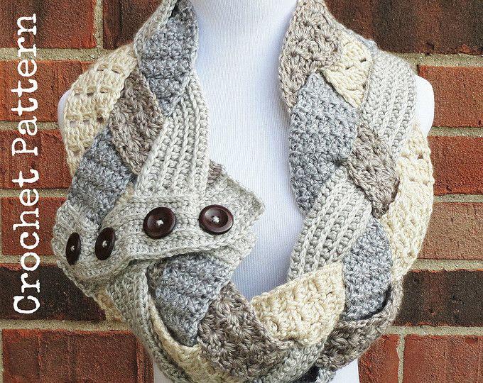 Crochet Scarf Pattern Crochet Cowl Button Scarf Neckwarmer Pattern