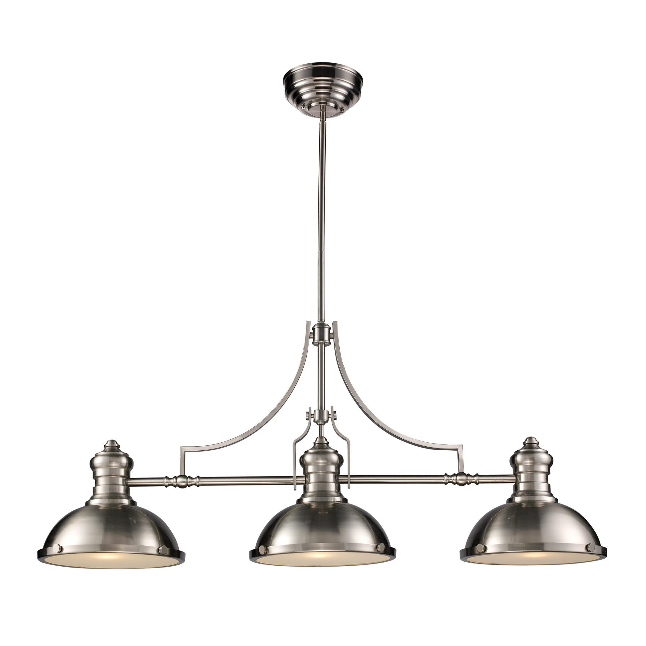Chadwick 3 light billiard in satin nickel pool table lights and chadwick 3 light billiard in satin nickel 66125 3 elite fixtures arubaitofo Choice Image