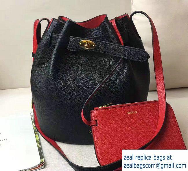 63a3c72f4f Mulberry Small Classic Grain Abbey Drawstring Bucket Bag Black Red 2017
