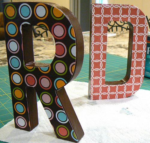 cover cardboard letters from hobby lobby with scrapbook paper for miss wrights room
