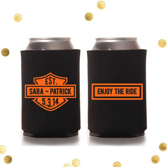 custom koozies with a harley-davidson logo, inscribed with names, Wedding invitations