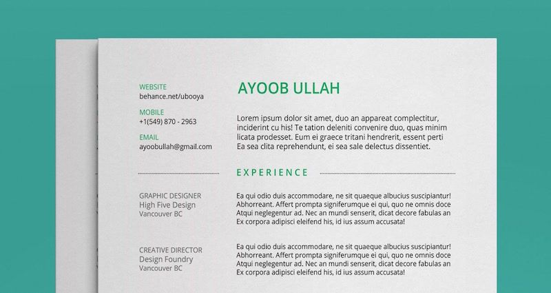 Free Resume Template By Ayoob Ullah  Download All For Free