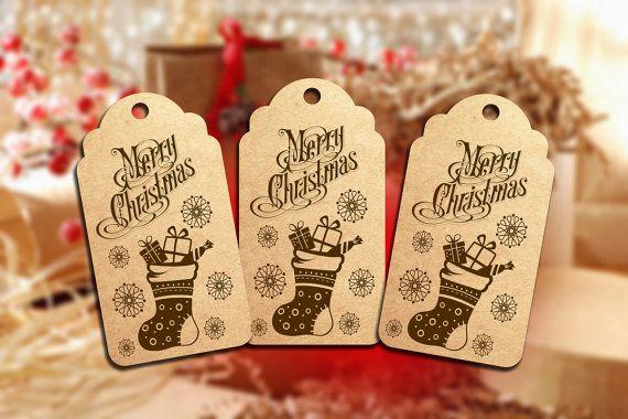 Kraft Paper Tag  Merry Christmas Stockings  QTY 15  $3.50