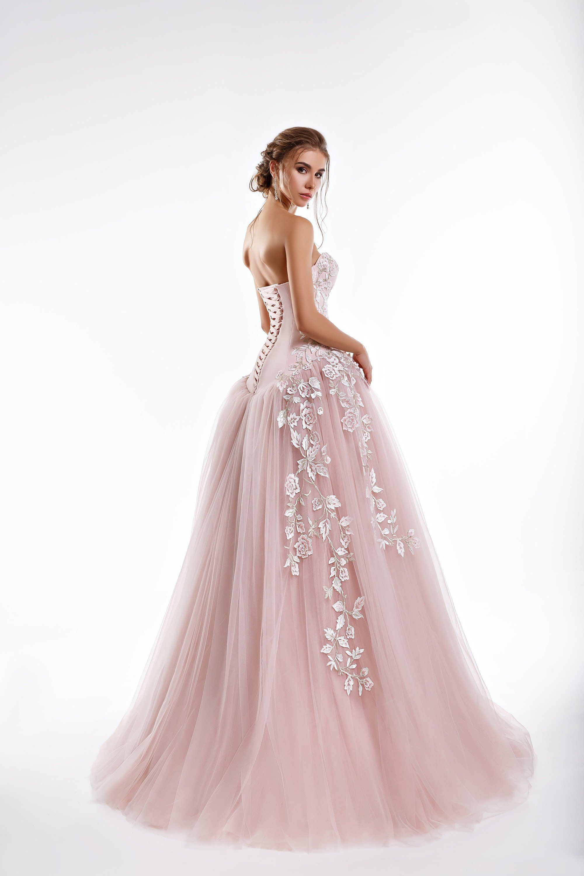 Romantic Floral Lace and Tulle ALine Wedding Dress with