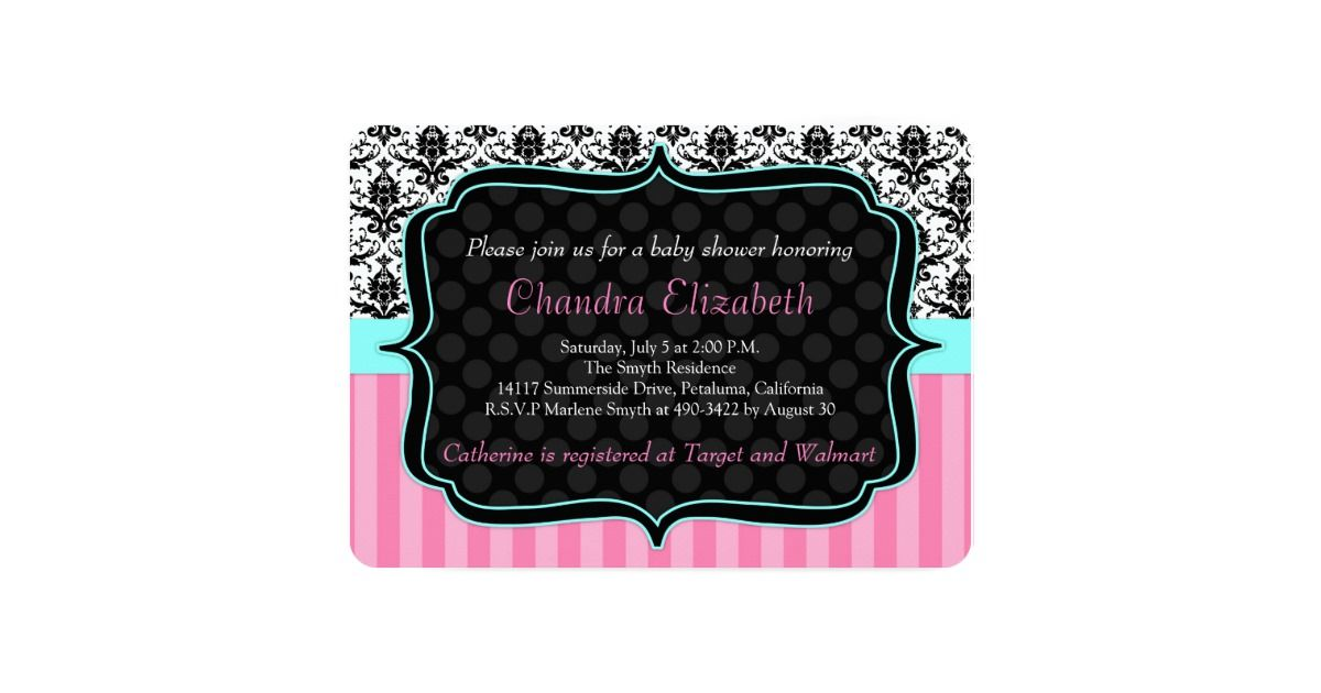 Elegant Pink Damask Baby Shower Invites | Damask baby showers