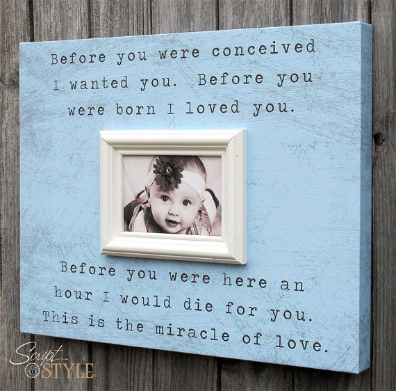 Custom Picture Frame Canvas With Miracle Of Love Quote, Baby Boy or ...