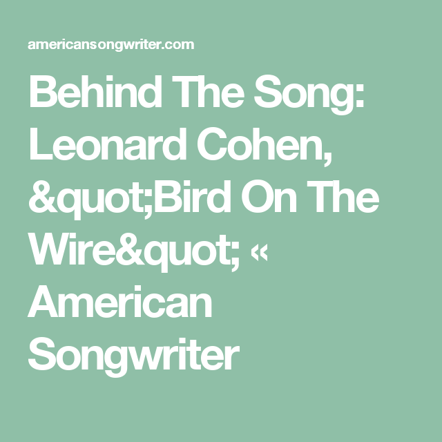 Behind The Song: Leonard Cohen, \