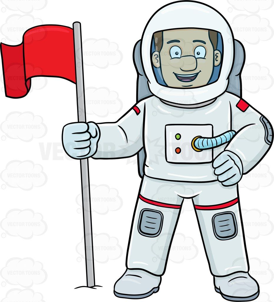 A male astronaut smiles after setting a flag on a foreign