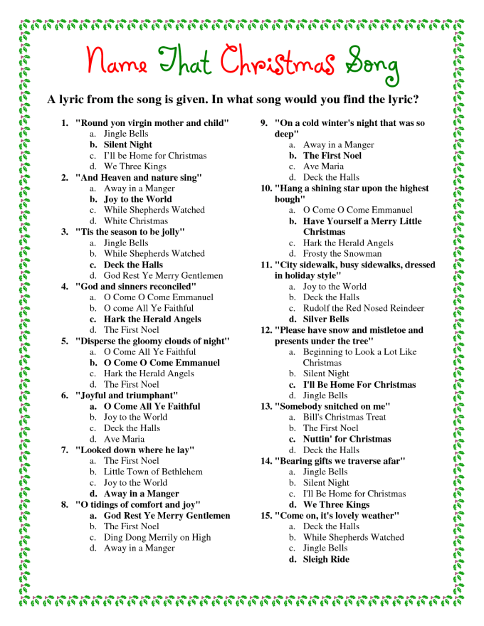 free christmas quiz questions and answers
