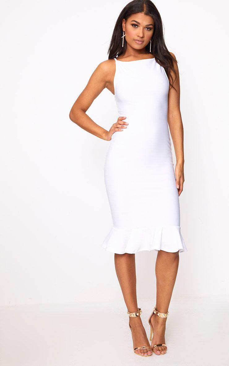 Freada White Square Neck Frill Hem Midi Dress Dresses White Dress Casual Day Dresses [ 1180 x 740 Pixel ]