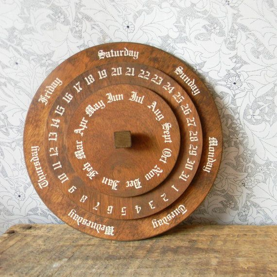 Round Perpetual Calendar Vintage German Wooden Dial Calendar