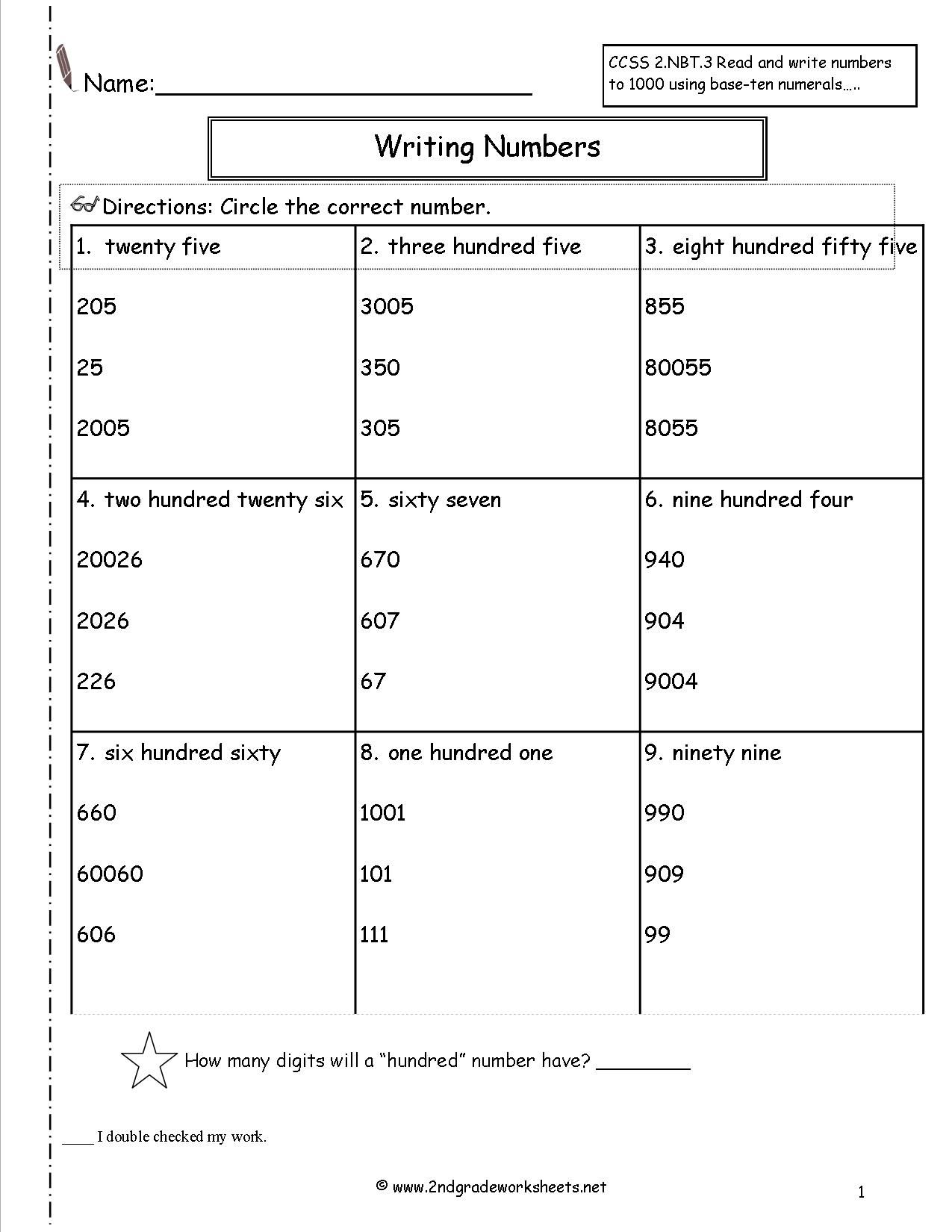 Number Words Worksheet 1