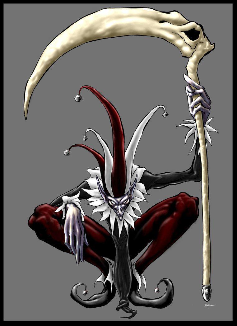 Scythe wielding jester.