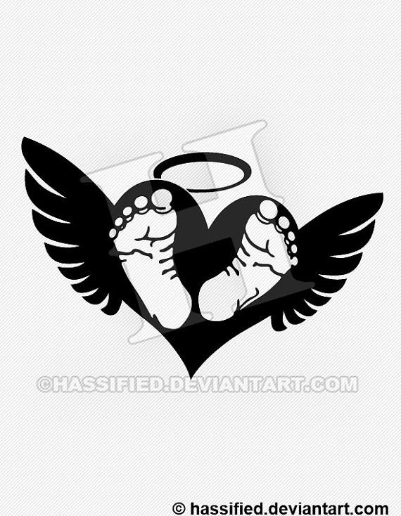 baby footprints with wings printable vector svg by inkspiredsvg i