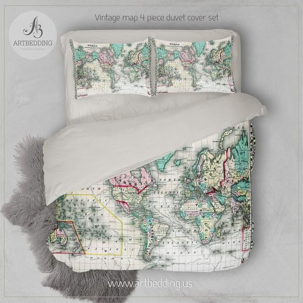 Antique world map 1870 bedding vintage old map duvet cover antique world map 1870 bedding vintage old map duvet cover antique map queen king full bedding set vintage map duvet cover set gumiabroncs Image collections