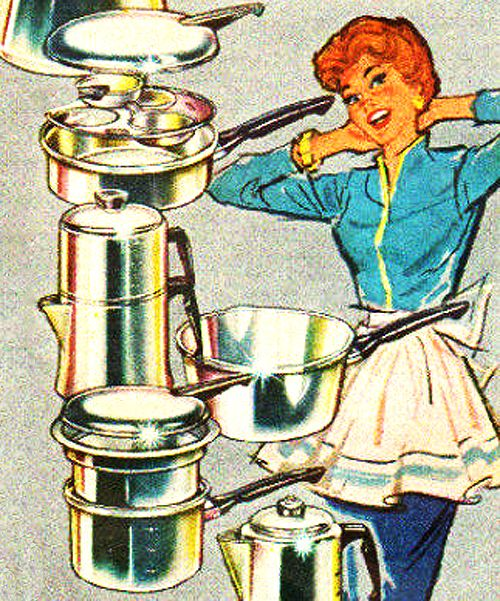 Pots & Pans - 1960 Mirro Cookware AD.  from Roger Wilkerson, The Suburban Legend!