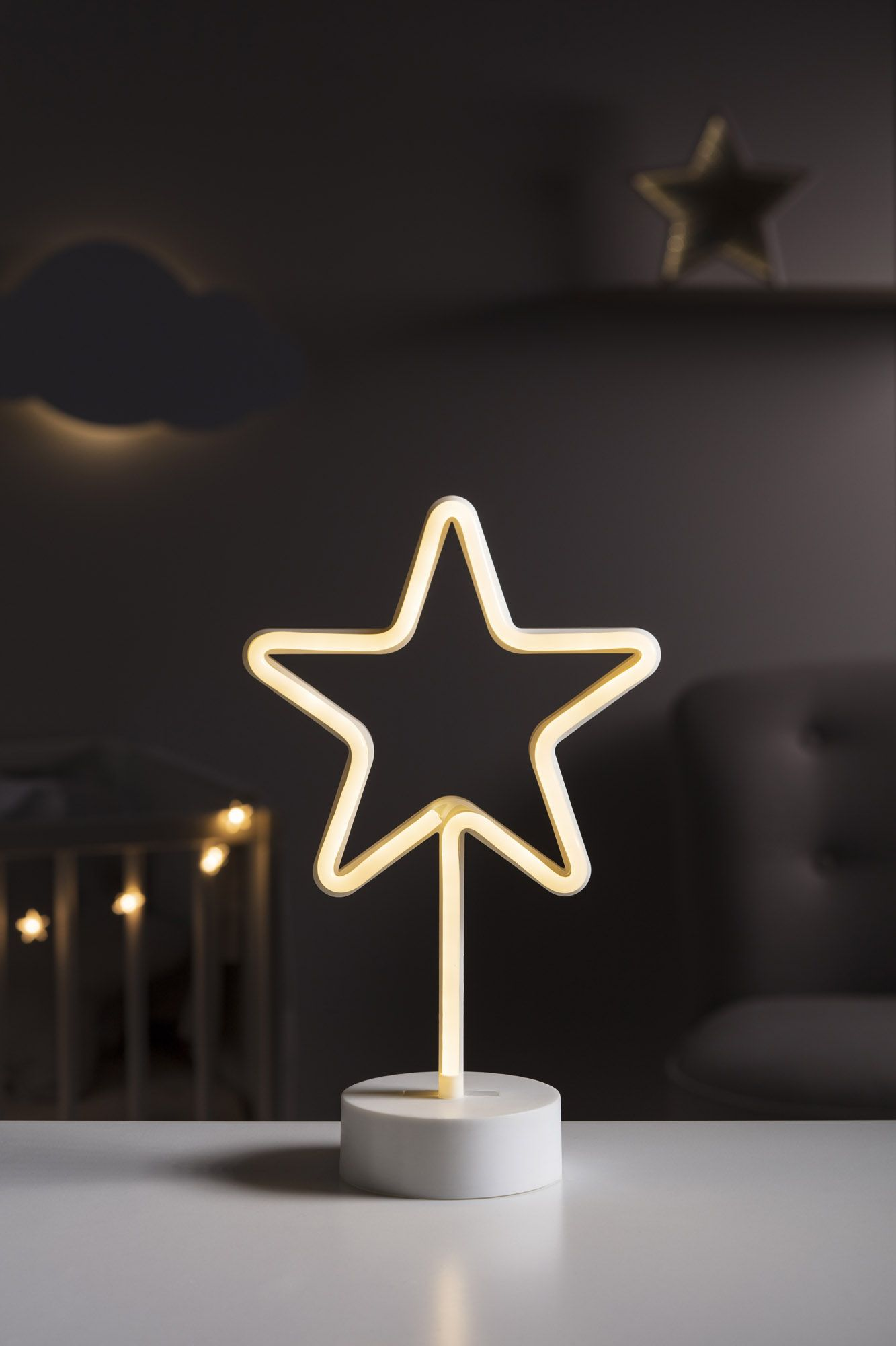 Neon Table Light: Battery Star Table Top Neon Light